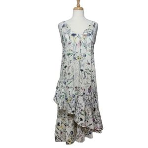 H&M CREPE Dress Floral Ruffle Sleeveless V Neck
